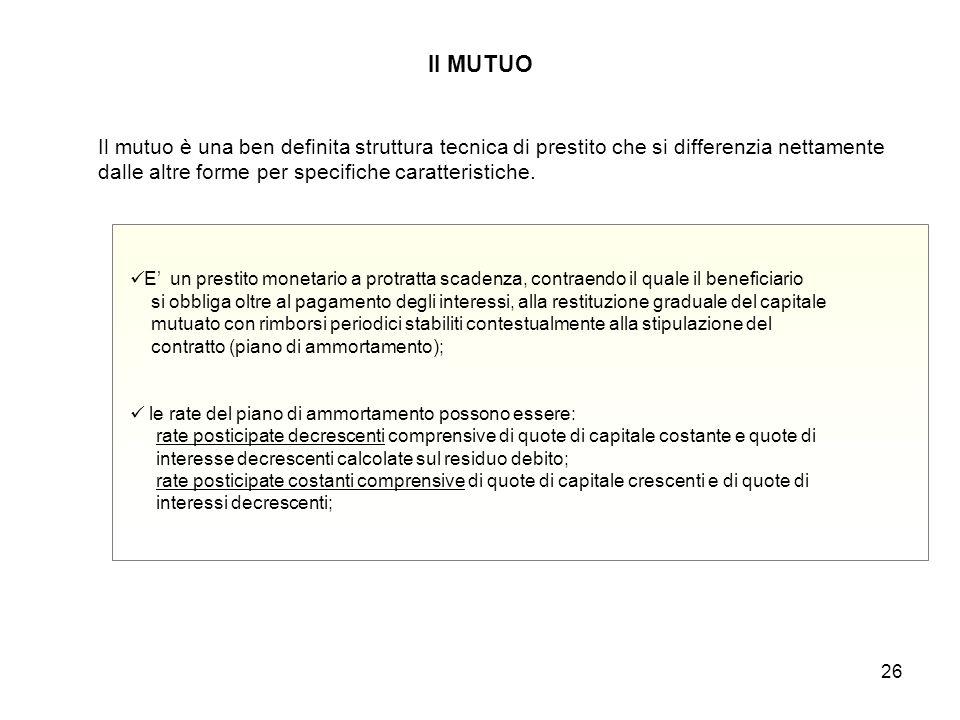 Il MUTUO Il mutuo è una ben definita struttura tecnica di prestito che si differenzia nettamente dalle altre forme per specifiche caratteristiche.