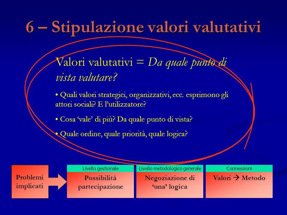 6 – Stipulazione valori valutativi