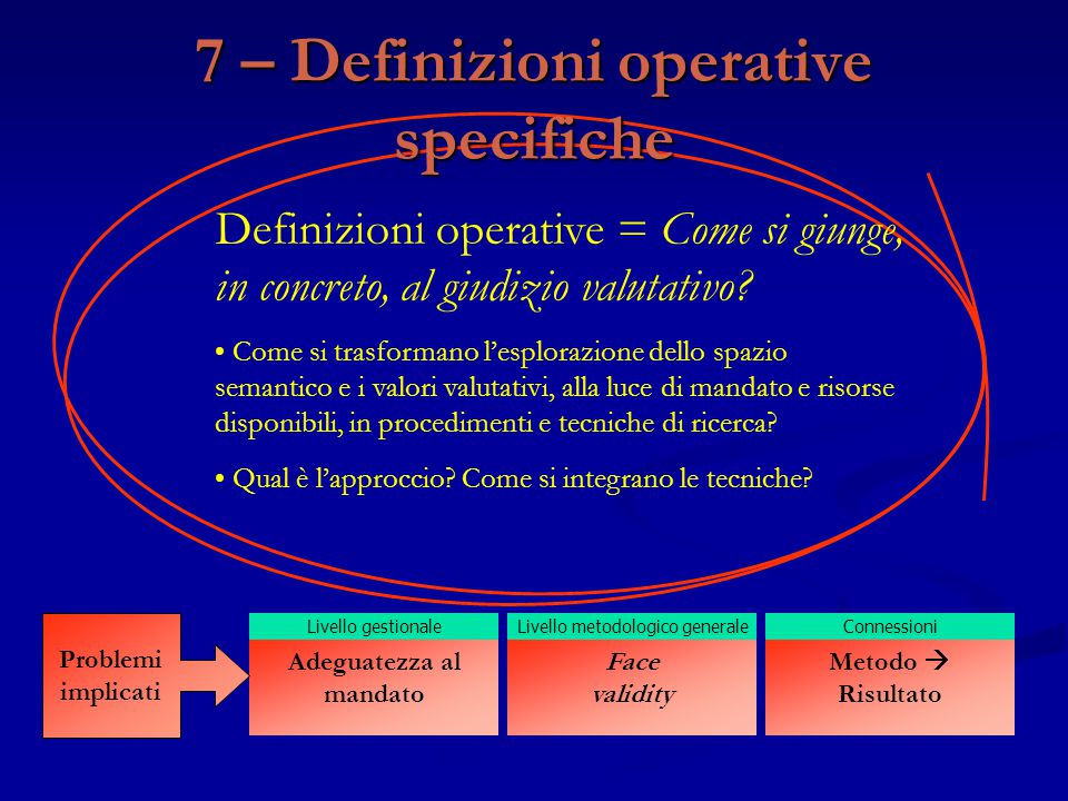 7 – Definizioni operative specifiche