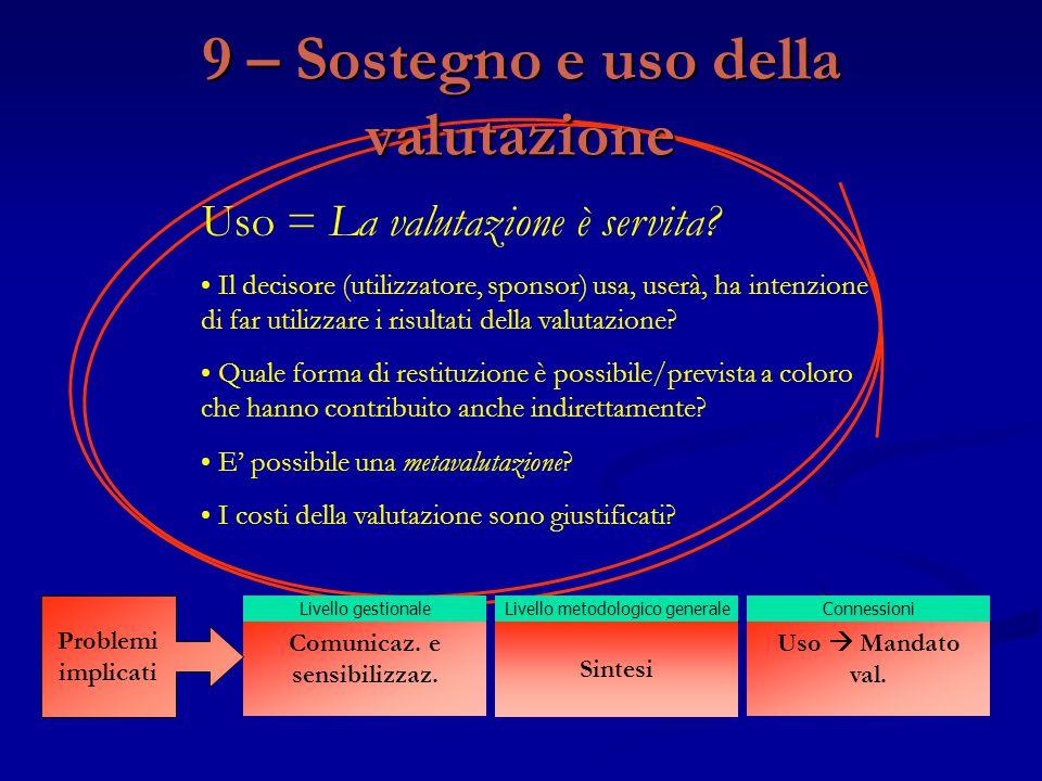 9 – Sostegno e uso della valutazione