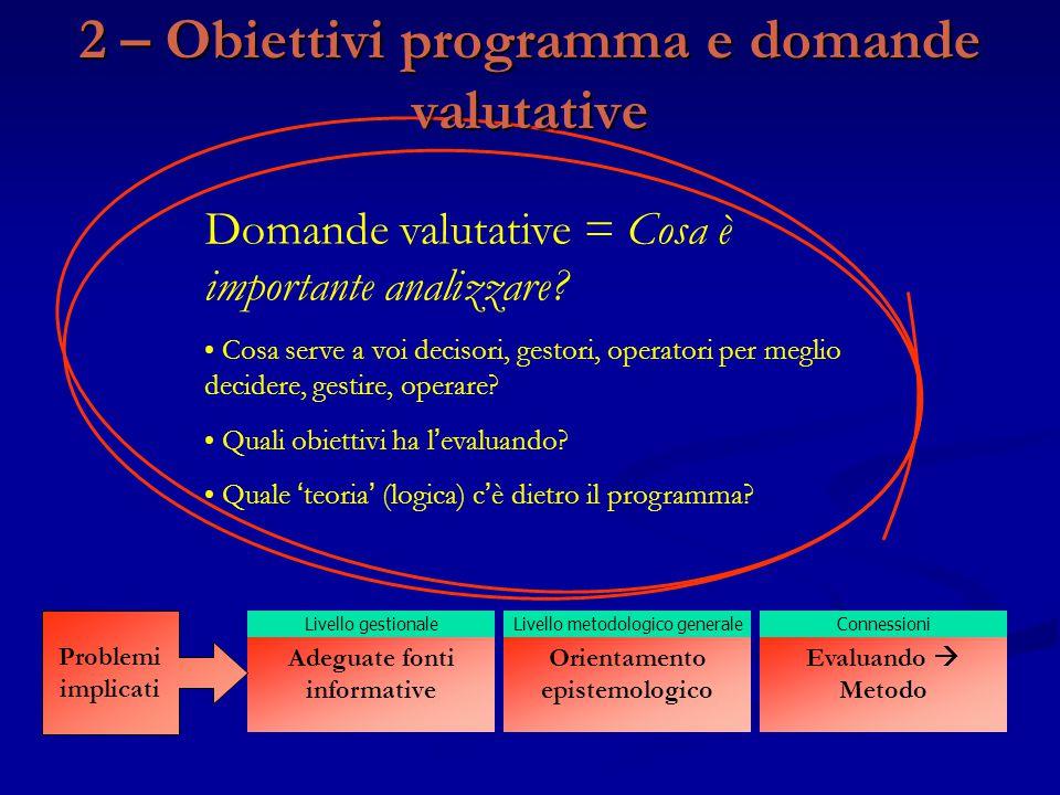2 – Obiettivi programma e domande valutative