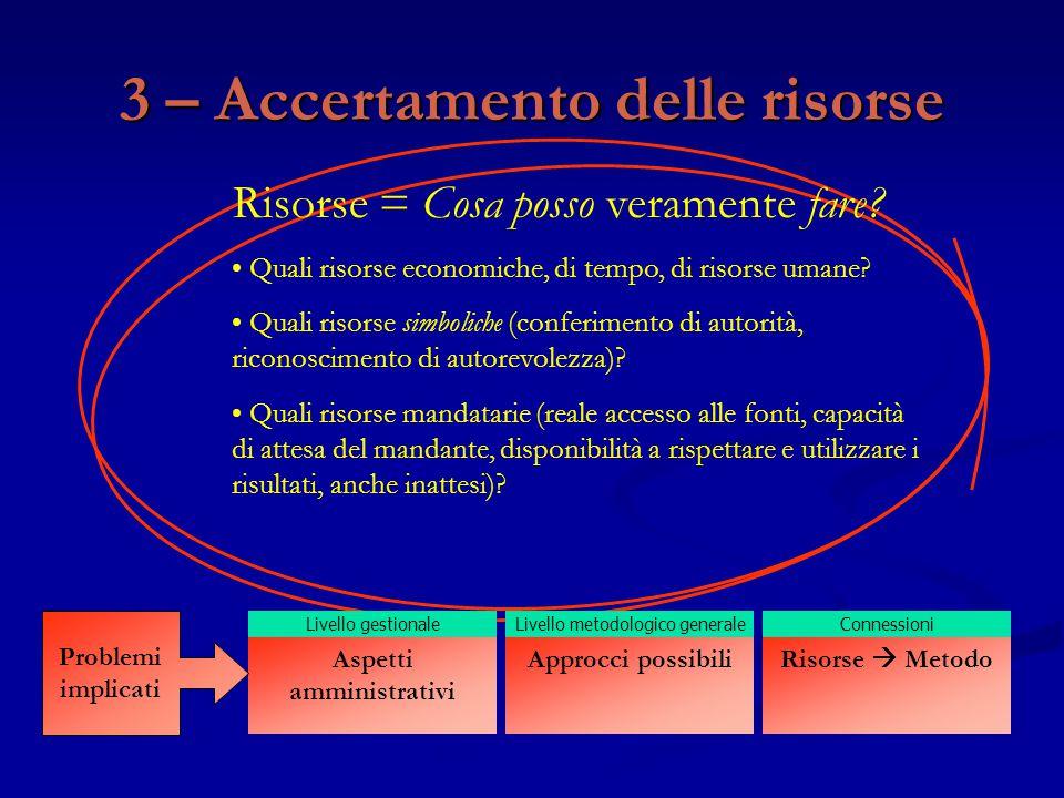 3 – Accertamento delle risorse