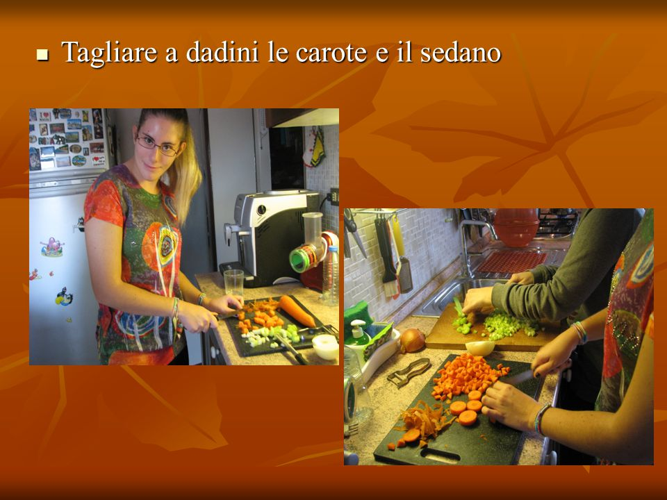 Tagliare a dadini le carote e il sedano