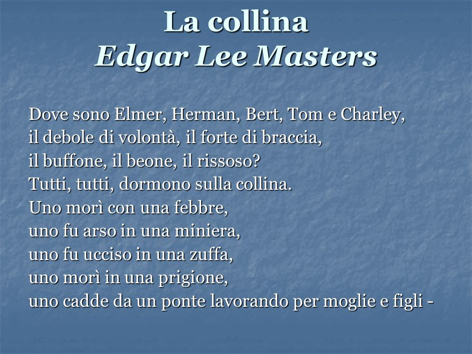 La collina Edgar Lee Masters