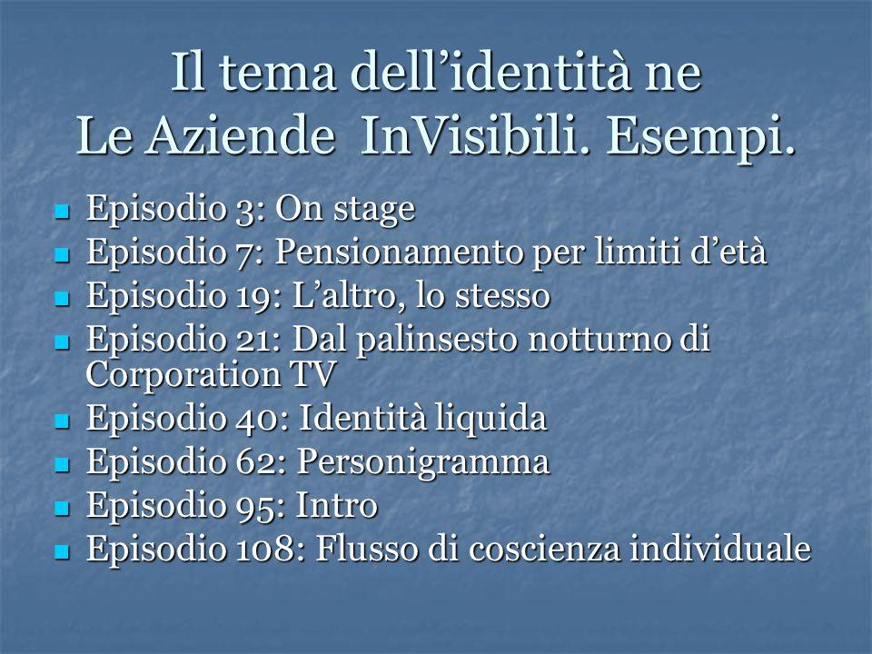 Il tema dell'identità ne Le Aziende InVisibili. Esempi.