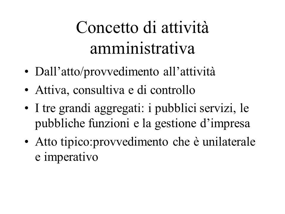 Concetto di attività amministrativa