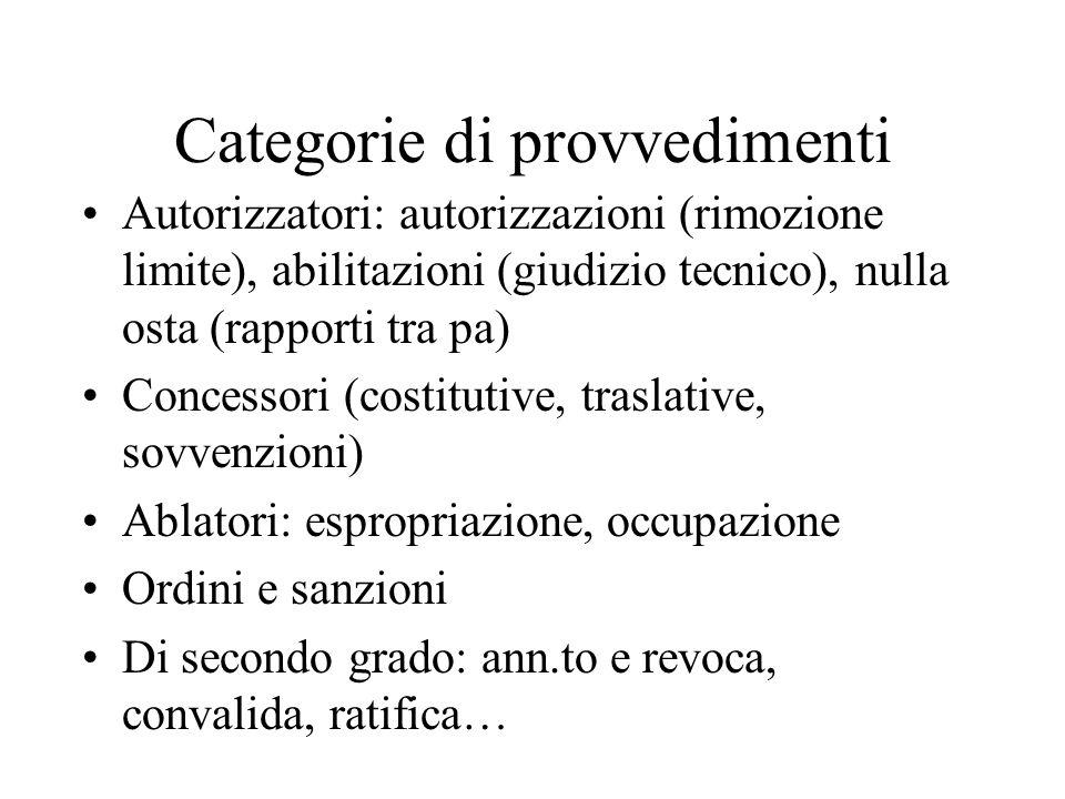 Categorie di provvedimenti