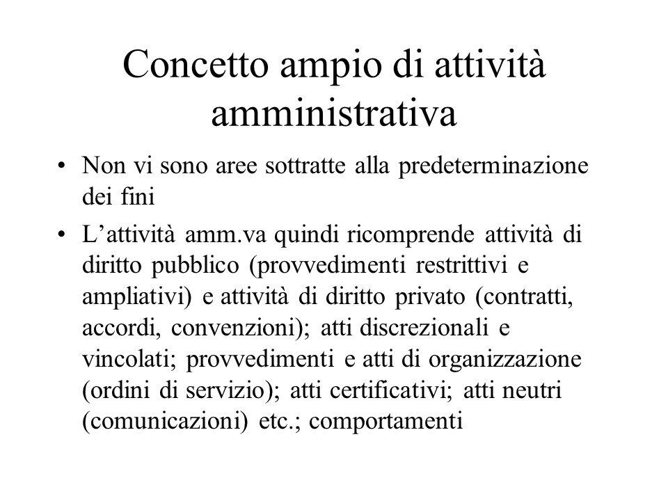 Concetto ampio di attività amministrativa