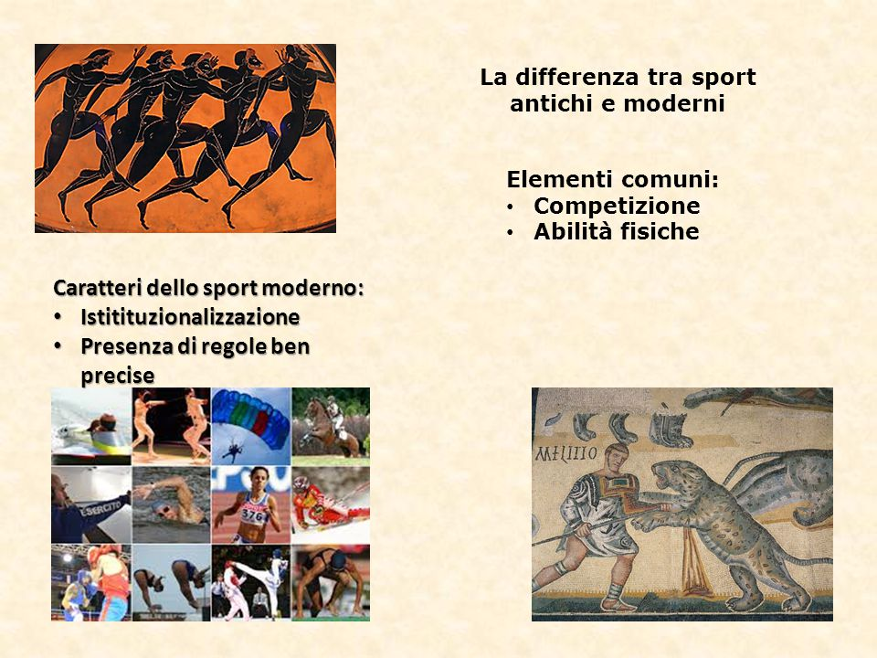 La differenza tra sport antichi e moderni