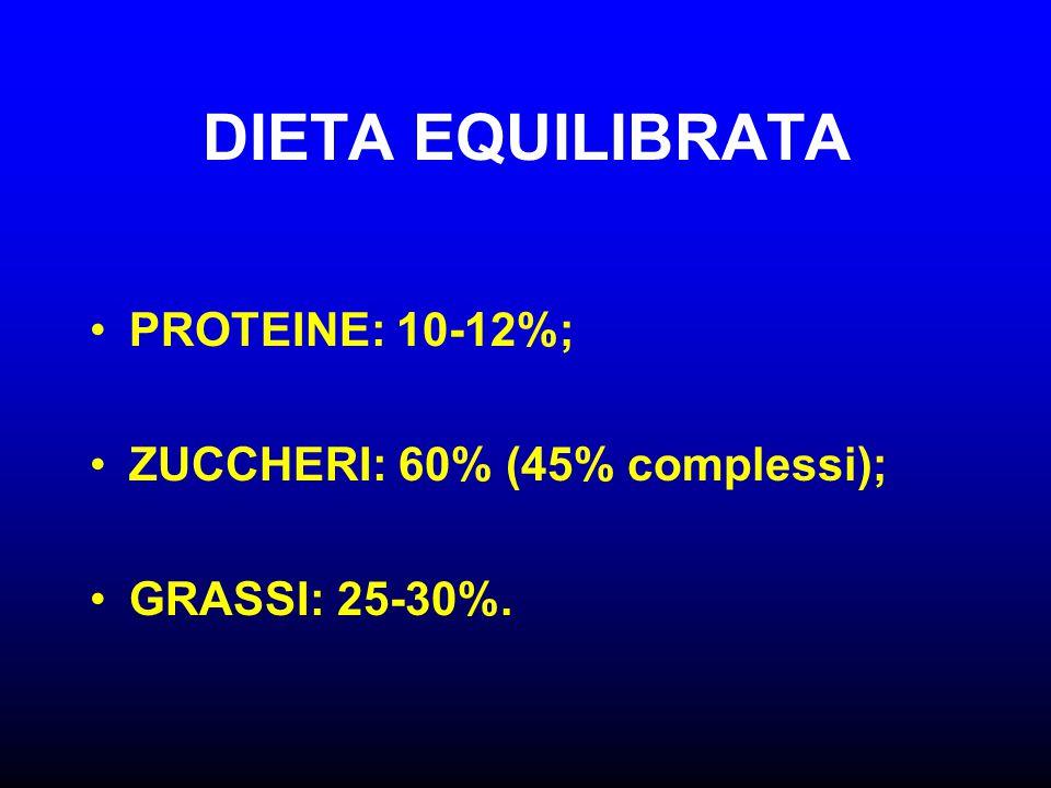 DIETA EQUILIBRATA PROTEINE: 10-12%; ZUCCHERI: 60% (45% complessi);