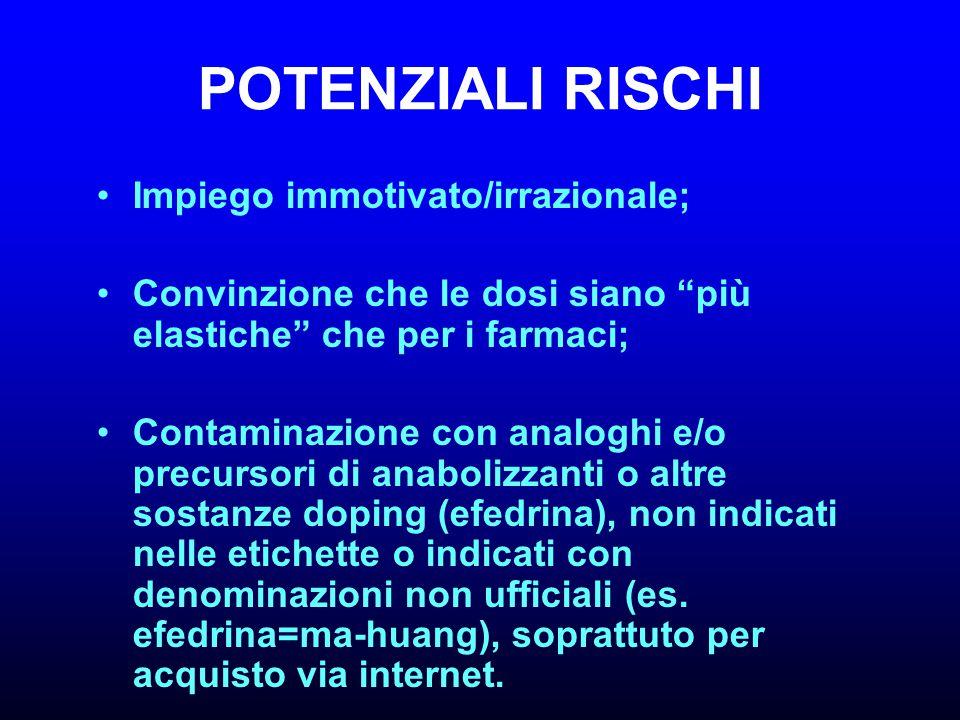 POTENZIALI RISCHI Impiego immotivato/irrazionale;