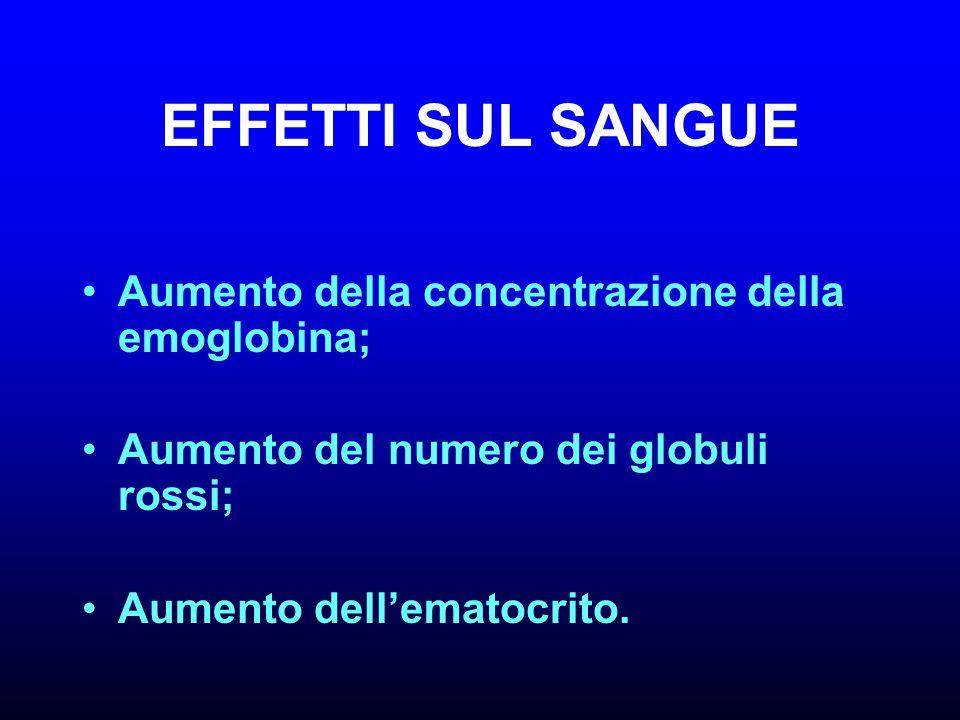 EFFETTI SUL SANGUE Aumento della concentrazione della emoglobina;
