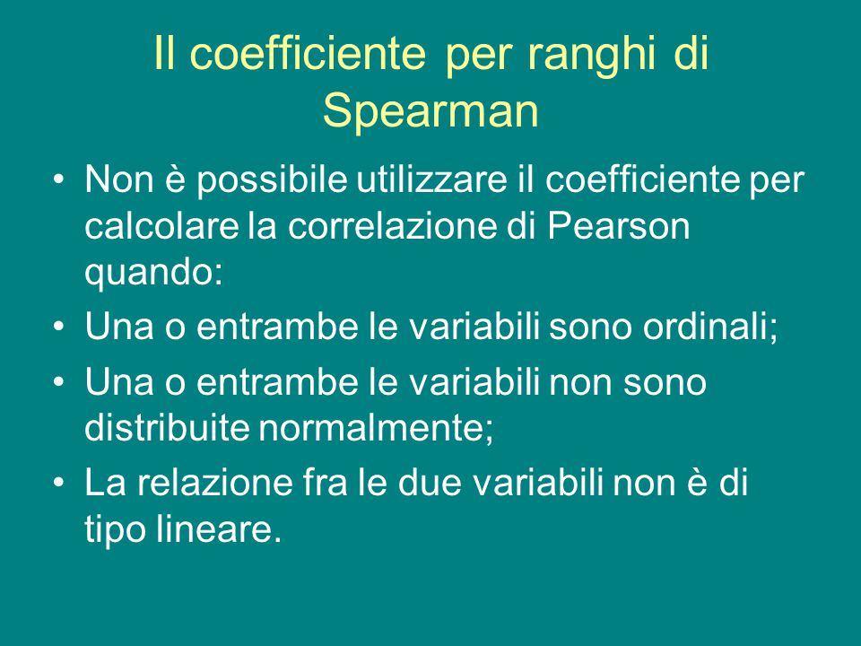 Il coefficiente per ranghi di Spearman