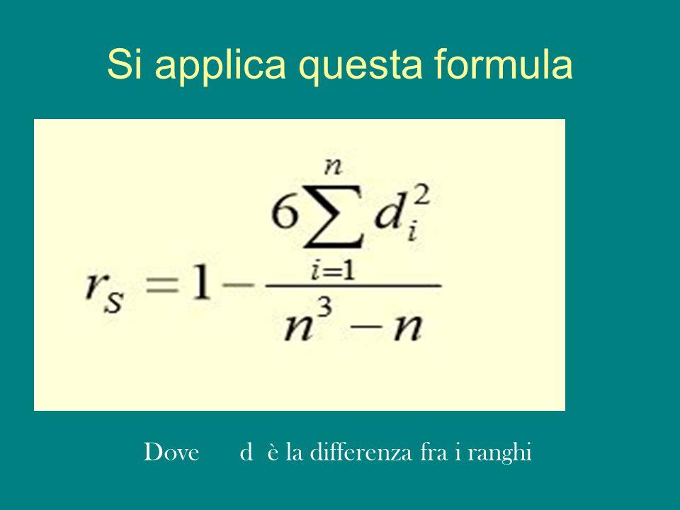 Si applica questa formula