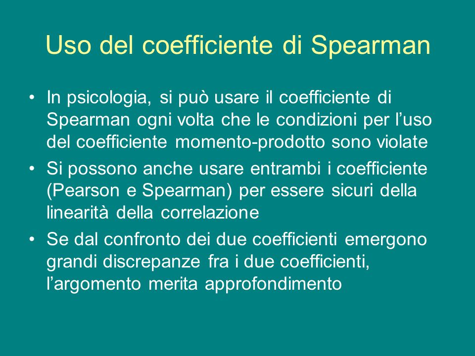 Uso del coefficiente di Spearman