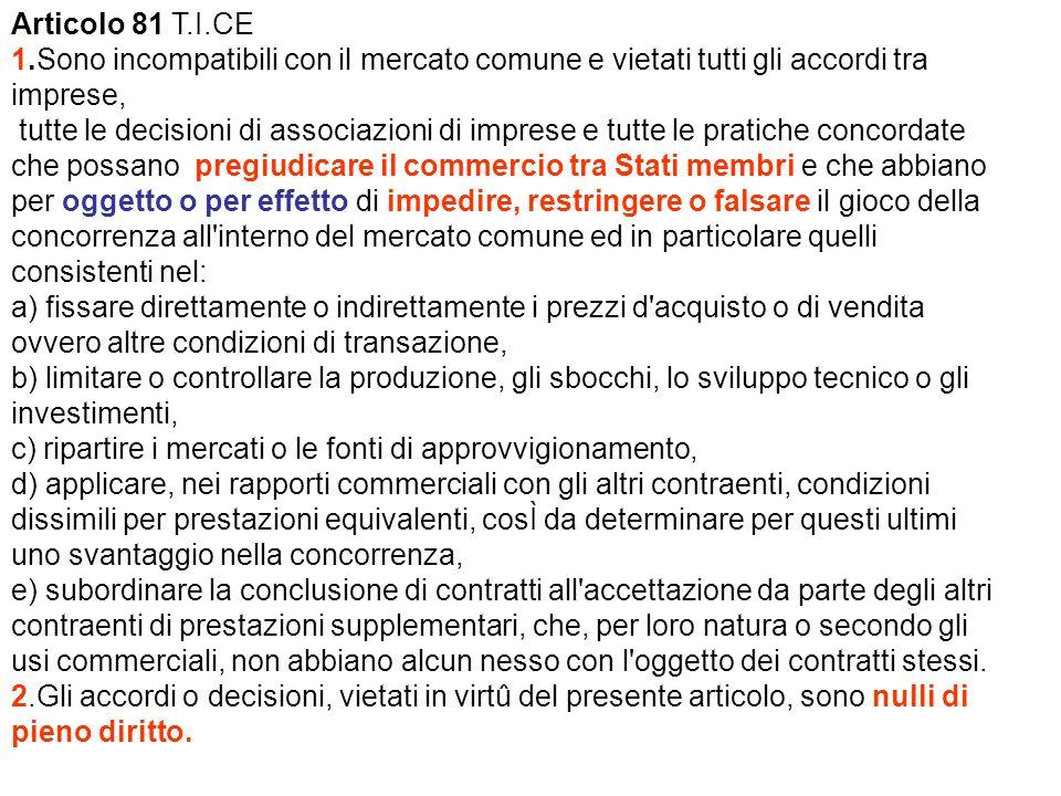 Articolo 81 T.I.CE 1.Sono incompatibili con il mercato comune e vietati tutti gli accordi tra imprese,