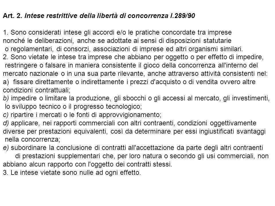 Art. 2. Intese restrittive della libertà di concorrenza l.289/90