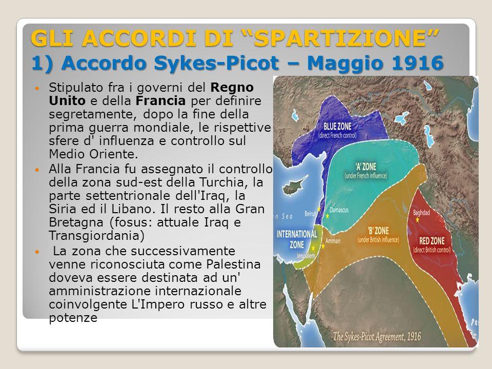 GLI ACCORDI DI SPARTIZIONE 1) Accordo Sykes-Picot – Maggio 1916