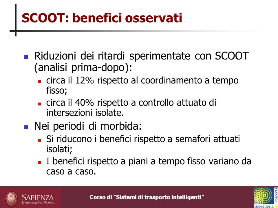 SCOOT: benefici osservati