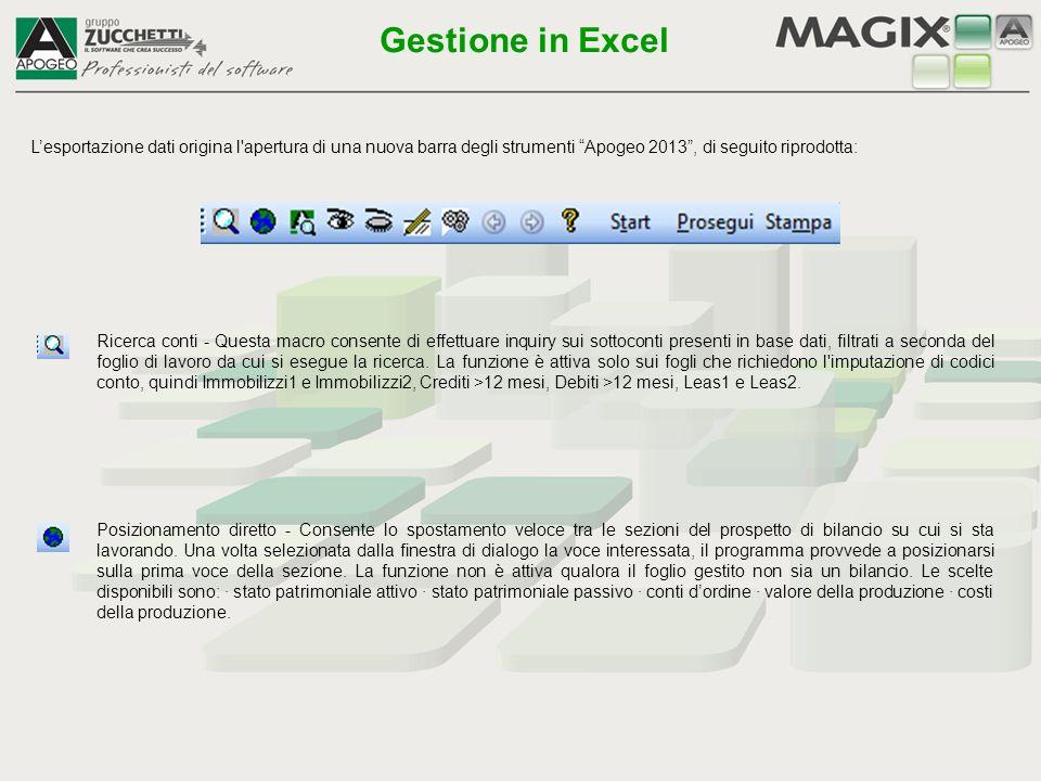 Gestione in Excel L'esportazione dati origina l apertura di una nuova barra degli strumenti Apogeo 2013 , di seguito riprodotta: