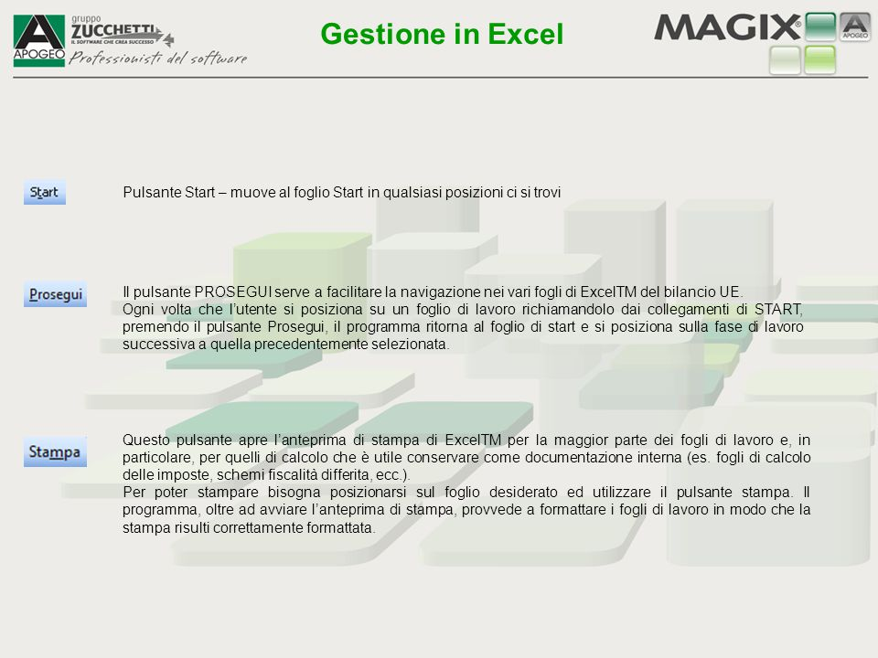 Gestione in Excel Pulsante Start – muove al foglio Start in qualsiasi posizioni ci si trovi.