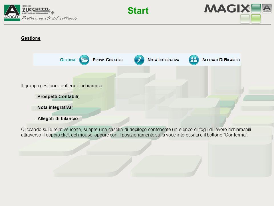 Start Gestione Il gruppo gestione contiene il richiamo a: