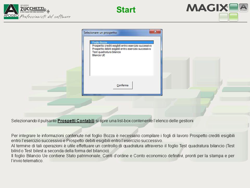 Start Selezionando il pulsante Prospetti Contabili si apre una list-box contenente l'elenco delle gestioni.