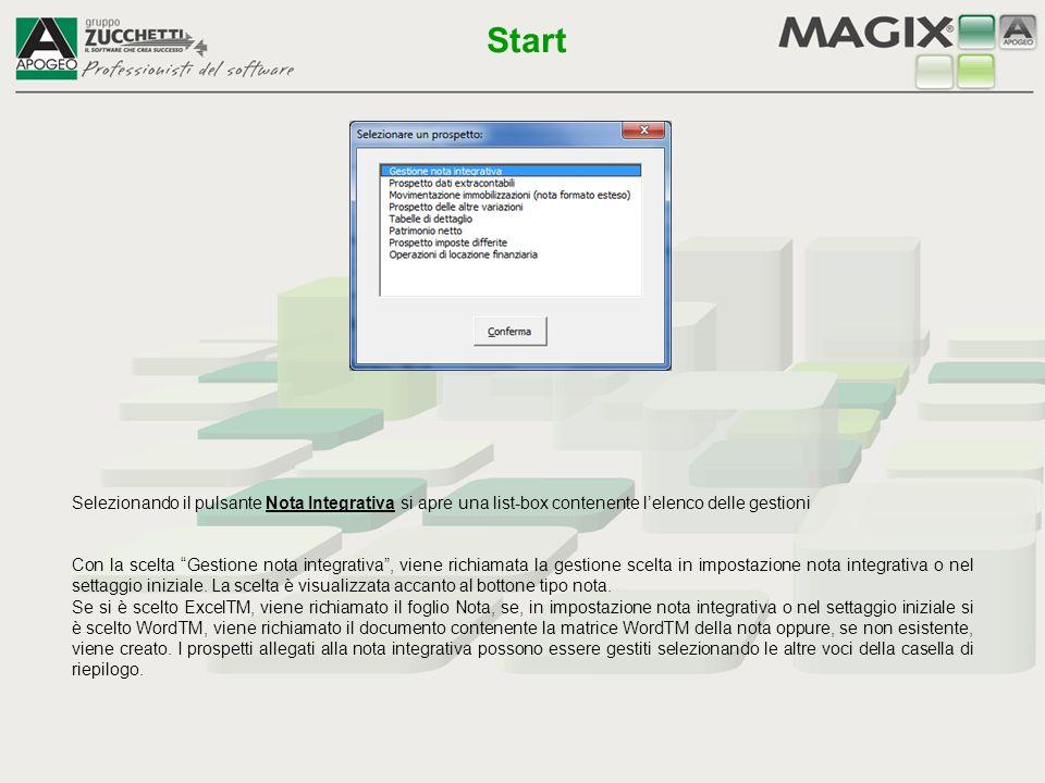 Start Selezionando il pulsante Nota Integrativa si apre una list-box contenente l'elenco delle gestioni.