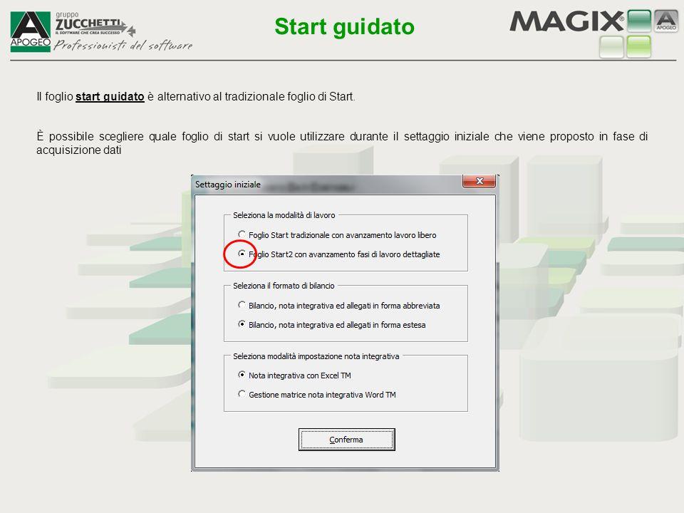 Start guidato Il foglio start guidato è alternativo al tradizionale foglio di Start.