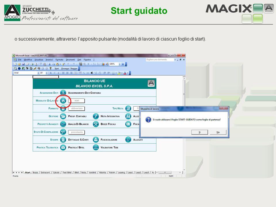 Start guidato o successivamente, attraverso l'apposito pulsante (modalità di lavoro di ciascun foglio di start).