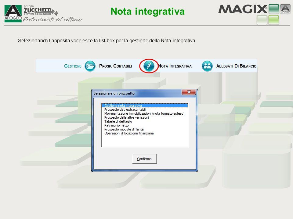 Nota integrativa Selezionando l'apposita voce esce la list-box per la gestione della Nota Integrativa.