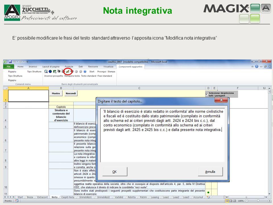 Nota integrativa E' possibile modificare le frasi del testo standard attraverso l'apposita icona Modifica nota integrativa