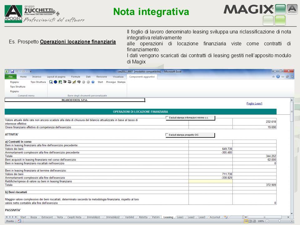 Nota integrativa Il foglio di lavoro denominato leasing sviluppa una riclassificazione di nota integrativa relativamente.