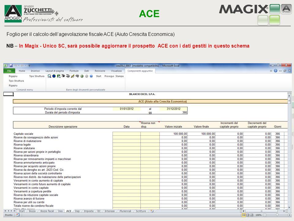 ACE Foglio per il calcolo dell'agevolazione fiscale ACE (Aiuto Crescita Economica)