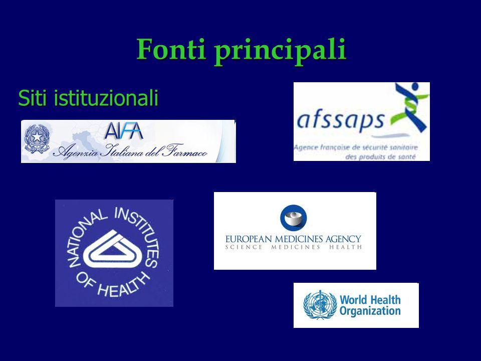 Fonti principali Siti istituzionali