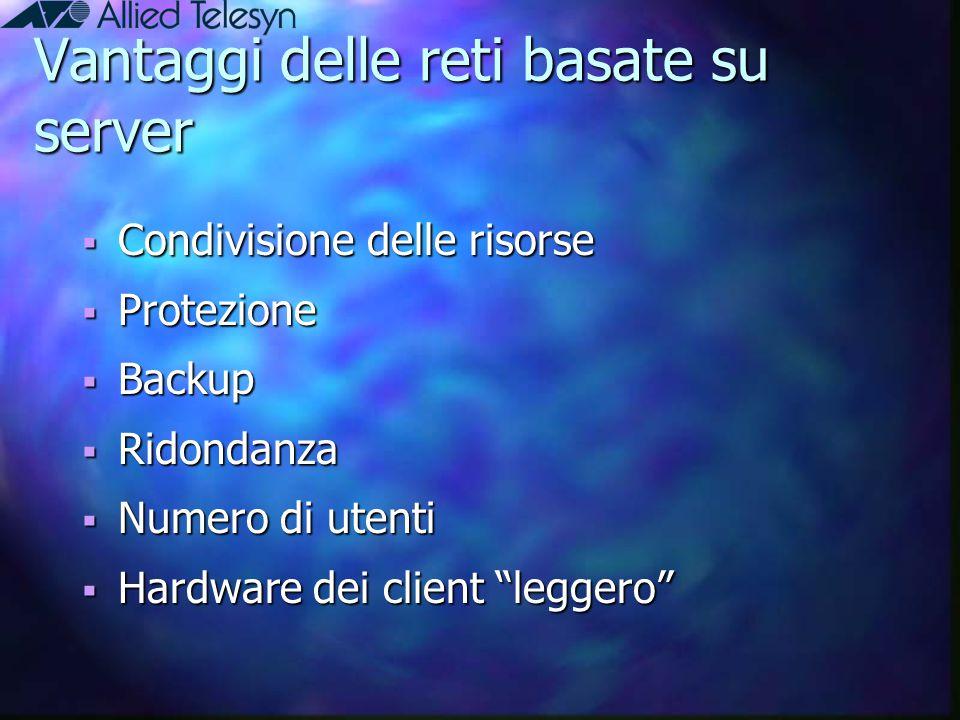 Vantaggi delle reti basate su server