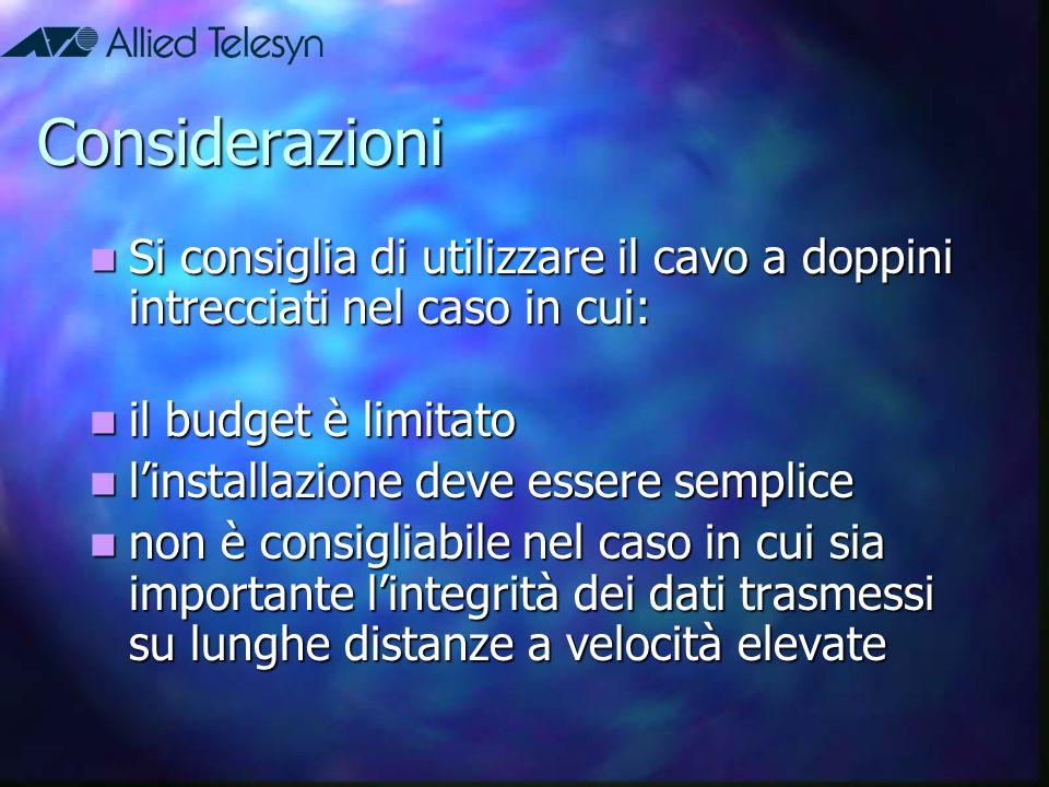 Considerazioni Si consiglia di utilizzare il cavo a doppini intrecciati nel caso in cui: il budget è limitato.