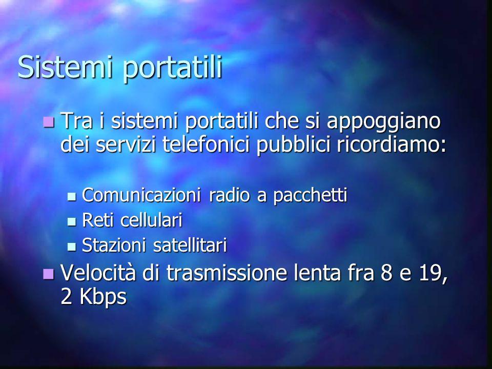 Sistemi portatili Tra i sistemi portatili che si appoggiano dei servizi telefonici pubblici ricordiamo: