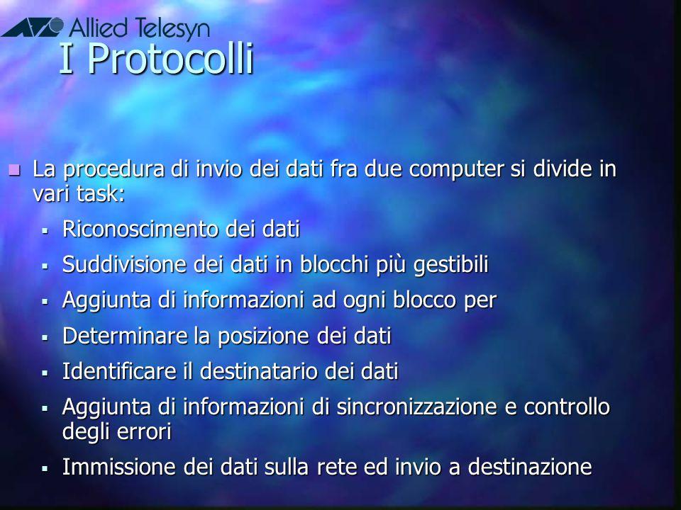I Protocolli La procedura di invio dei dati fra due computer si divide in vari task: Riconoscimento dei dati.