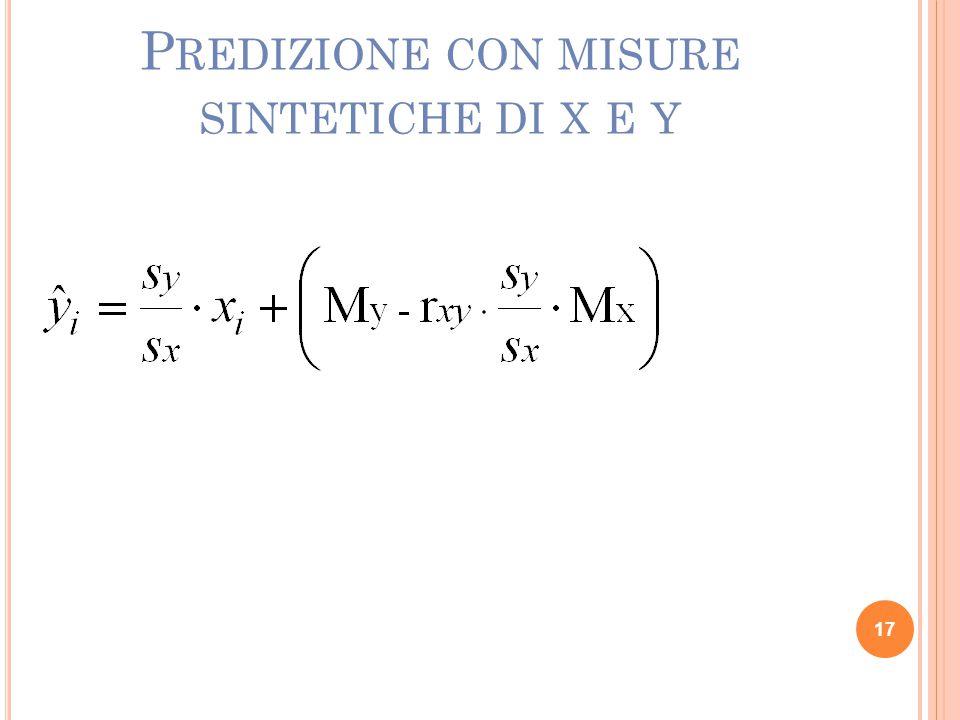 Predizione con misure sintetiche di x e y