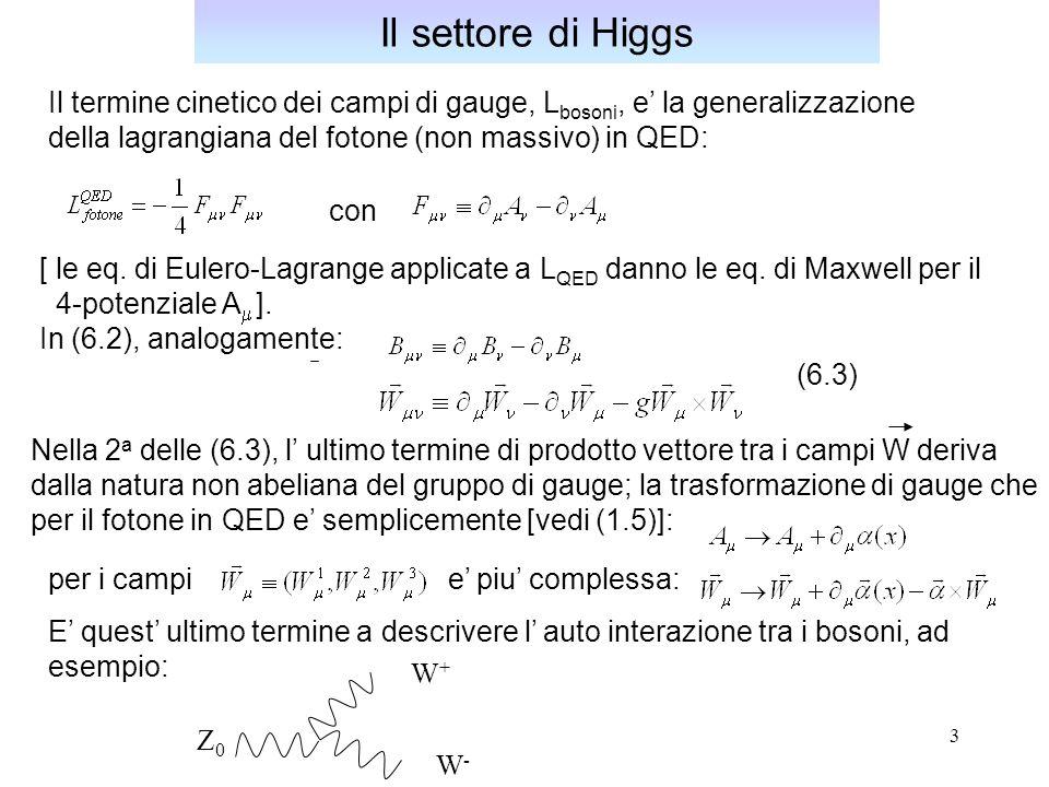 Il settore di Higgs Il termine cinetico dei campi di gauge, Lbosoni, e' la generalizzazione. della lagrangiana del fotone (non massivo) in QED: