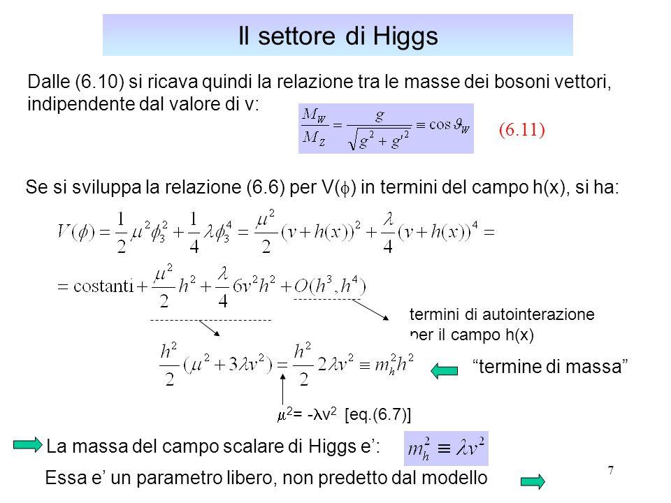 Il settore di Higgs Dalle (6.10) si ricava quindi la relazione tra le masse dei bosoni vettori, indipendente dal valore di v: