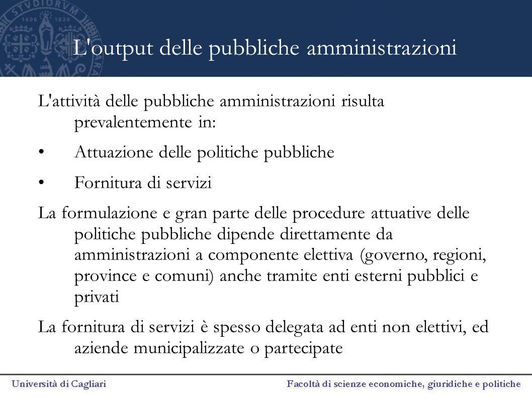 L output delle pubbliche amministrazioni