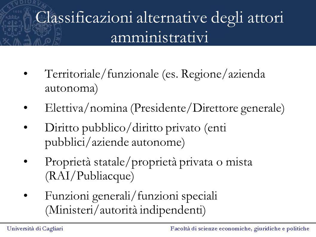 Classificazioni alternative degli attori amministrativi