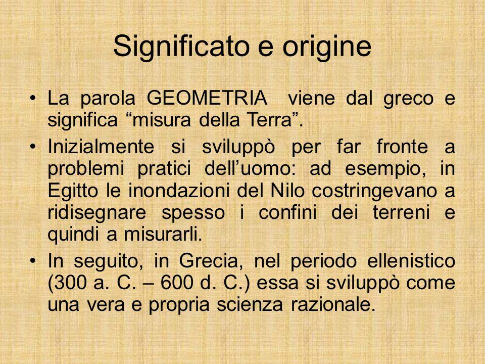 Significato e origine La parola GEOMETRIA viene dal greco e significa misura della Terra .