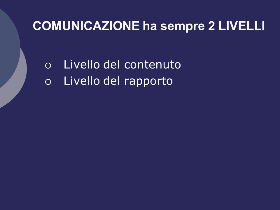 COMUNICAZIONE ha sempre 2 LIVELLI