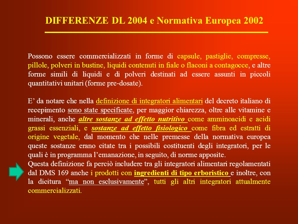 DIFFERENZE DL 2004 e Normativa Europea 2002
