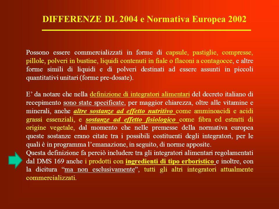DIFFERENZE DL 2004 e Normativa Europea 2002