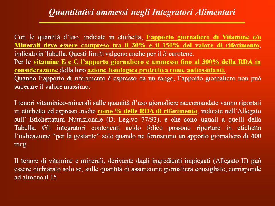 Quantitativi ammessi negli Integratori Alimentari