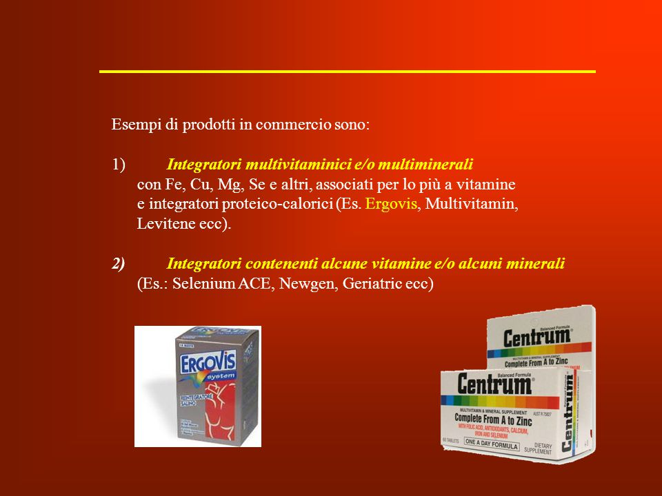 Esempi di prodotti in commercio sono: